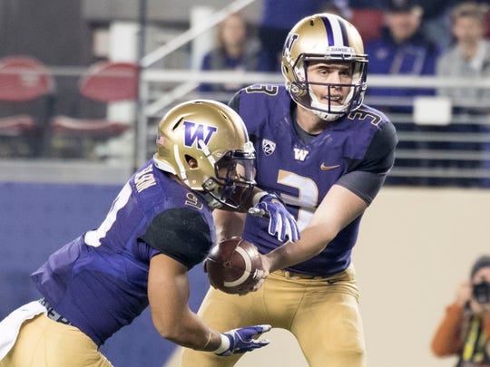 Washington quarterback Jake Browning (3) and running back Myles Gaskin (9) will need to be at their best against Alabama's defense.