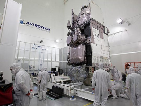 GOES-R sits in a clean room at Astrotech Space Operations