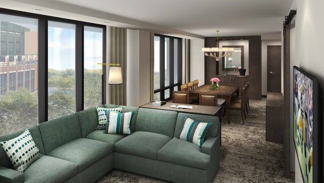 An artist's rendering of a corner suite in the Lodge Kohler hotel under construction in the Green Bay Packers' Titletown District.