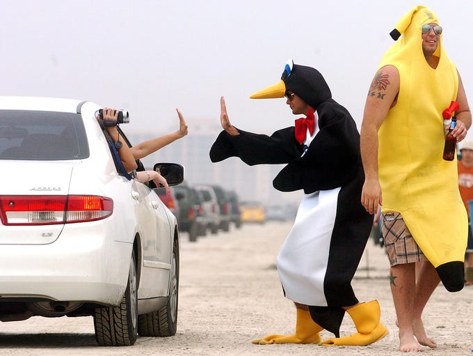 A penguin and a banana celebrated spring break on March