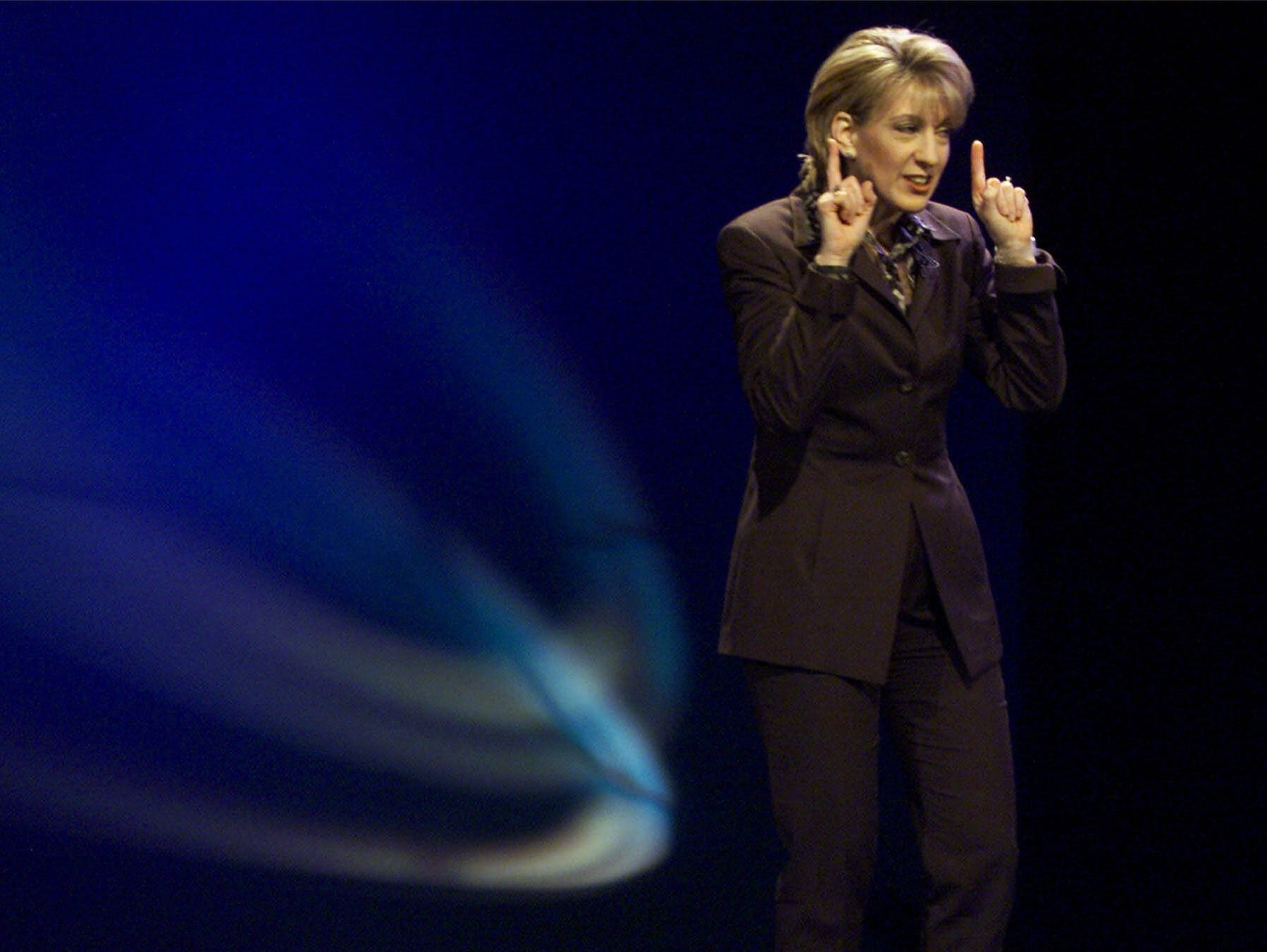Hewlett-Packard CEO Carly Fiorina delivers the COMDEX keynote address on Nov. 15, 1999, at the Venetian Hotel and Casino in Las Vegas.