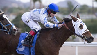 Vanessa Romberg on English Lace during Race 4, December 7, 2016, at Turf Paradise, 1501 West Bell Road, Phoenix. English Lace finished 5th.