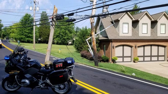 Westland Drive is closed on the 10000 block after a crash took down a utility pole.