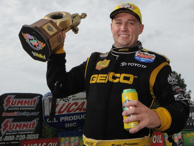 Riche Crampton winner of the Top Fuel finals  the NHRA US Nationals at Lucas Oil Raceway, Monday, Sept. 1 , 2014.