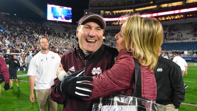 Mississippi State coach Dan Mullen described how happy he was in Starkville.