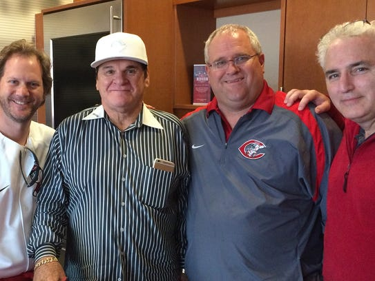 From left, Rodger Pille, Pete Rose, Doug Ridenour and