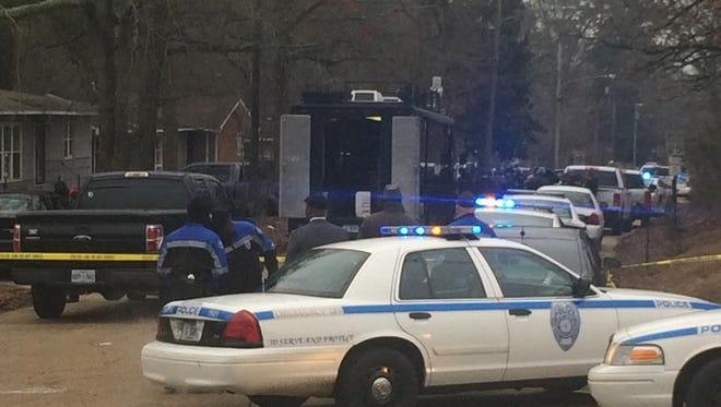 SWAT team at the scene of a police search in south Jackson.