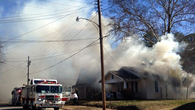 Jackson firefighters are battling a house fire on Linden Street this afternoon.
