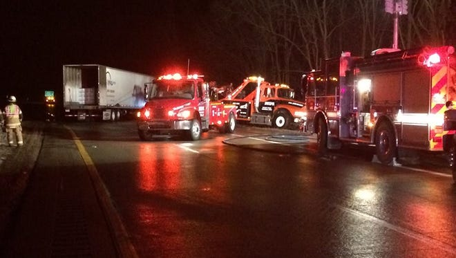 A semi tractor-trailer rig slid to a halt after the driver noticed a fire on the rig early Thursday morning on I-69 near Tekonsha. Both northbound lanes were closed for a while, but reopened later in the morning.