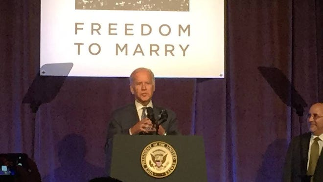 Vice President Biden speaks at the Freedom to Marry gay marriage celebration at Cipriani in New York City on Thursday, July 9, 2015.