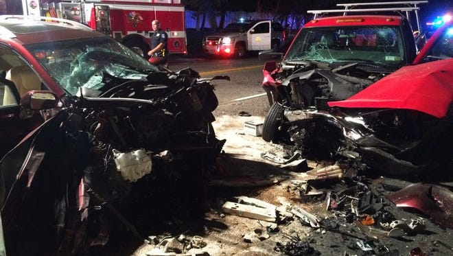 The mangled vehicles resulting from a June collision on Route 304 in Bardonia for which a grand jury indicted Matthew Beckerle, 50, of Pearl River, on charges of  drunken driving and assault.