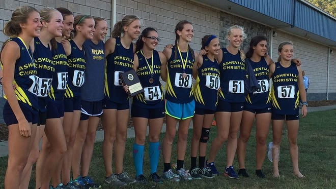The Asheville Christian Academy girls cross country team.