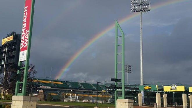 Rhinos COO/President Pat Ercoli snapped this picture this morning at Sahlen's Stadium, where Rochester hosts the L.A. Galaxy II in the USL Championship at 7:30 p.m. Friday.