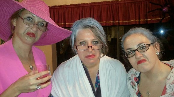 My sister Andrea (left), friend Mariah and I right before using our old lady costumes to trick or treat.