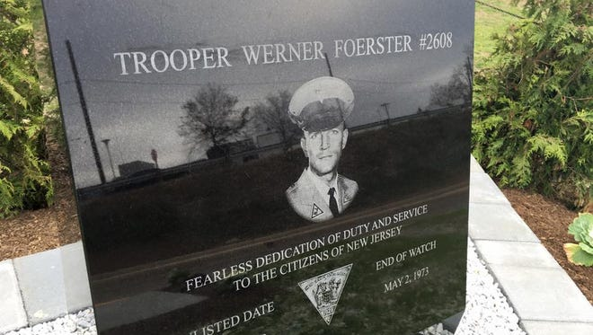 Close up view of monument for New Jersey State Trooper Werner Foerster who was killed in 1973.