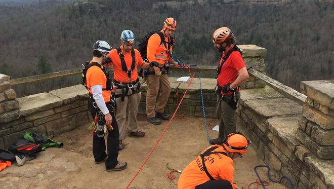 Members of the Wolfe County Search and Rescue Team at Red River Gorge.