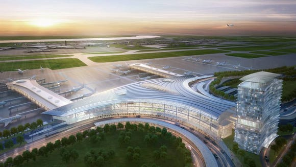 A rendering of the new airport terminal planned for