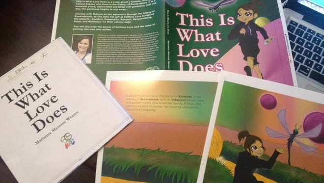 "The cover and some inside pages of Marianne Marrone Weaver's book ""This Is What Love Does."""