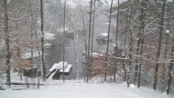 A photo of Lake James covered in snow today. The state park is closed to the public.