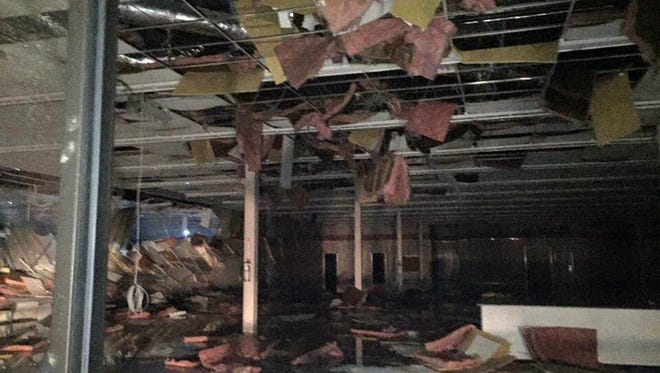 The aftermath of a tornado hitting Pensacola fitness.
