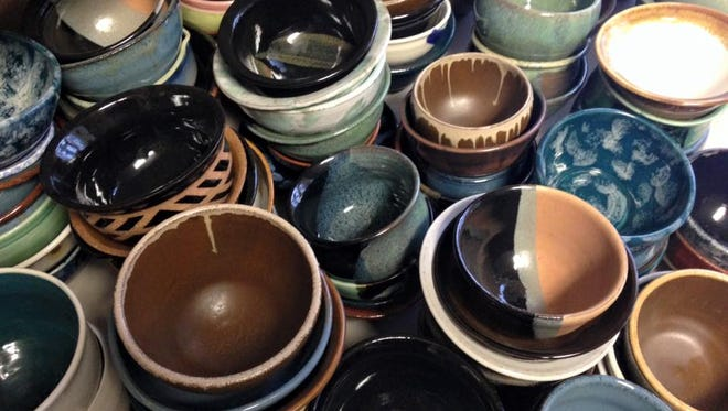 A small selection the 200 hand-thrown-and-glazed empty bowls.