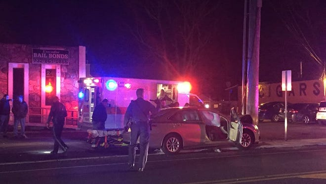 A car hit a pole Sunday  night on Route 9 in Beachwood.