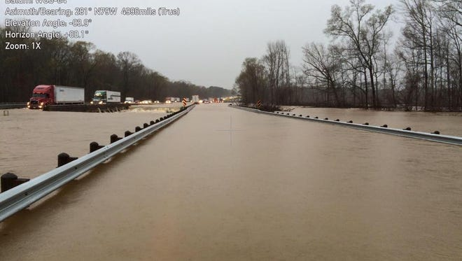 This photo from the Louisiana Governor's Office of Homeland Security and Emergency Preparedness show I-20 at Webster Parish/Bienville parish line.