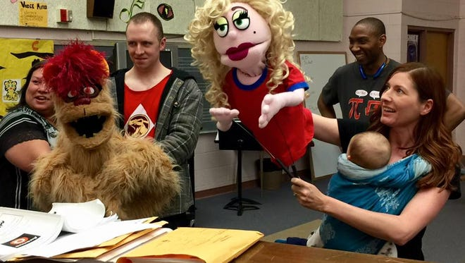 """Cast of """"Avenue Q"""" rehearses for opening night at the Flickinger Center for Performing Arts beginning April 8."""