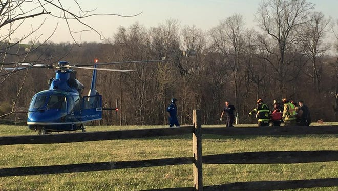 A helicopter responded to the scene of an ATV crash on Wednesday evening after one person was seriously injured, fire officials said.