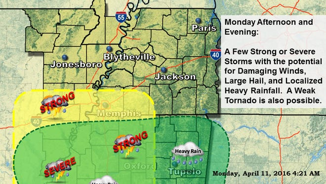 A few strong or severe storms will be possible along a cold front this afternoon through late this evening, with the potential for damaging winds, large hail and localized heavy rainfall, according to the National Weather Service in Memphis.