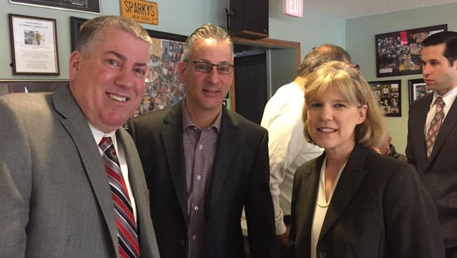 West Haverstraw Trustee Ralph Kirschkel, Mayor  Robert D'Amelio and Executive Editor Traci Bauer at the lohud coffee chat at Sparky's on April 8.