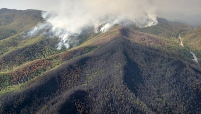 Forest Service performs burnout operations on Silver Mine Fire Monday.
