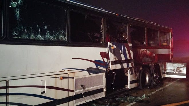 A fire destroyed a coach bus early Thursday on Interstate 39 in Rib Mountain.