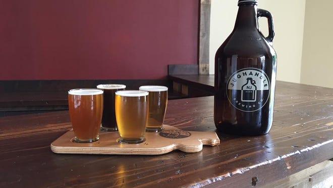 Jughandle Brewery flight of beer.