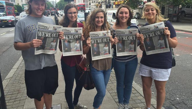 """Students participating in the University of Southern Mississippi's British Studies Program in London this summer were eyewitnesses to history Thursday as the United Kingdom voted to leave the European Union in the highly anticipated """"Brexit"""" referendum. Holding copies of the London Evening Standard announcing the result of the referendum are, from left, Scott Avery, Maggie Benvenutti, Lauren Gardner, Grace Parfitt and Emilee Carvo."""