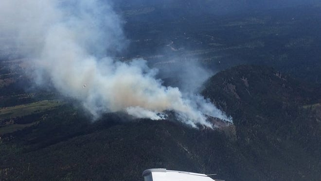 Aerial view of the Crow Peak fire near Spearfish.