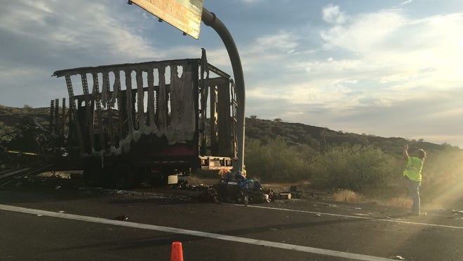 A semitruck carrying furniture caught fire on I-17 Sunday, blocking traffic for several hours.