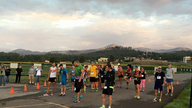 Runners line up at the start for the first ever Ruidioso Marathon and Half Marathon Saturday.