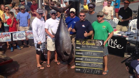 Anglers from Reel Intense hold up a prize-winning tuna