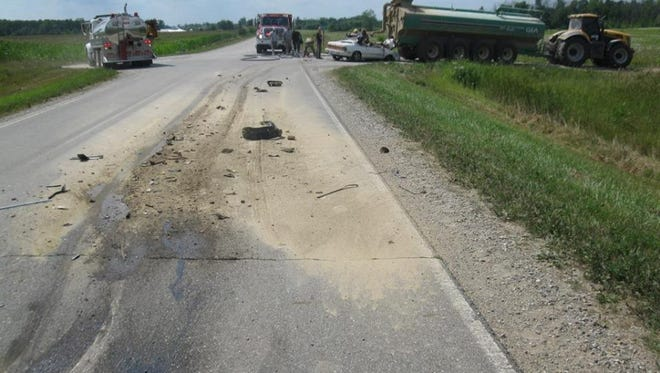 The Sanilac County Sheriff Department investigates a two-vehicle crash in Sanilac Township.