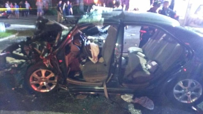 Liam Perry's Toyota Camry after it crashed head on with a car driven by 85-year-old Pedro Martinez on Palmer Road in Yonkers Aug. 11, 2016
