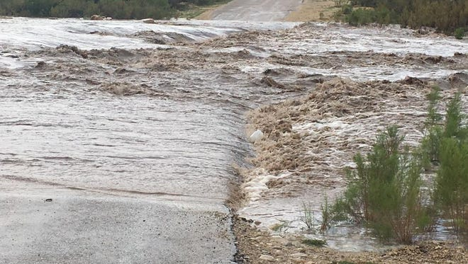 County Road 408 under water after rains Aug. 21 in Eddy County.