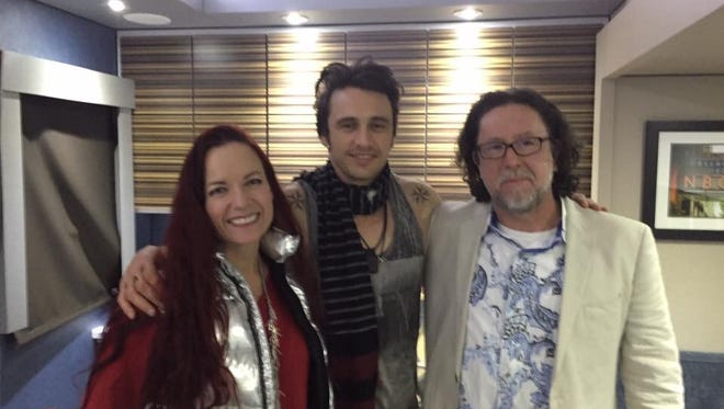 """Beth Ann Fennelly, James Franco and Tom Franklin in Franco's trailer in May. Franklin will write the script for the movie adaptation  for his book """"Smonk"""""""