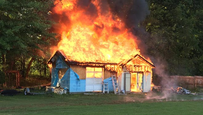 A shed caught fire after a controlled burn on Aug. 27, 2016.