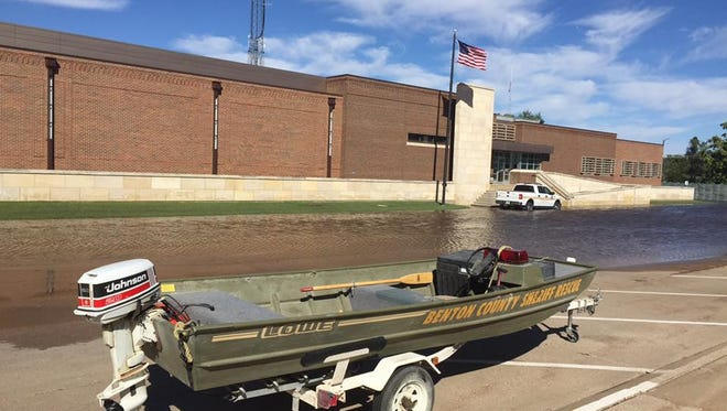A boat provided access to the Benton County Law Enforcement Center during flooding.