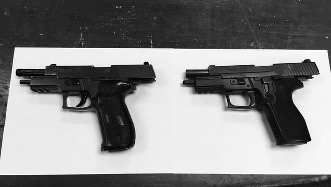 Washington Township police posted on their Facebook page this photo of a confiscated Air Soft Paintball gun, left, next to a Sig Sauer P226 handgun it is designed to resemble. Police remind the public to make sure paintball guns have an orange safety tip to distinguish the difference.