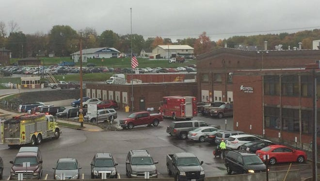 Fire crews at Expera Specialty Solutions in Mosinee.