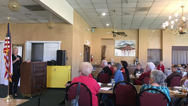 Secretary of State candidate Nora Espinoza speaking at a meeting hosted by Federated Republican Women of Lincoln County Monday.