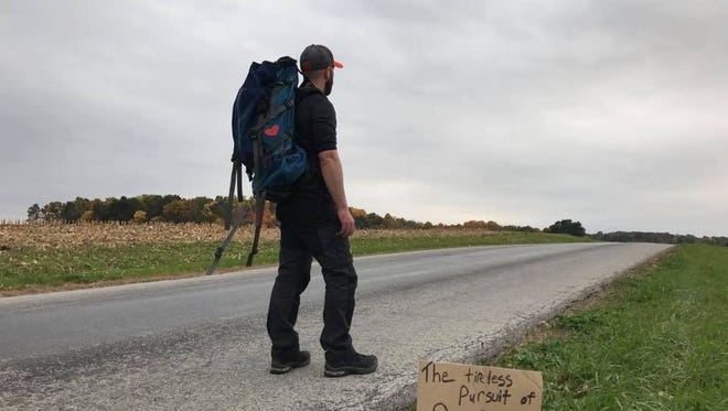 "Bruce Tanner of Plymouth is walking more than 800 miles from Portland, Maine, back home to Plymouth, Ohio, on what he's calling ""the tireless pursuit of positivity"" to prove there are good people in the world."