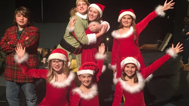 "Front row: Olivia Lyle, Emma Harrington and Kurstyn Glass; back row: Kobe Santiago, Carson Lunger (Buddy), Laura Craft (Jovie) and Jackie McQuain in ""Elf The Musical Jr."""